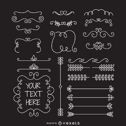 Quadros de divisores de ornamento Doodle
