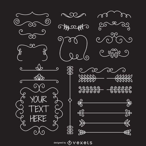 Doodle de marcos divisores de adorno