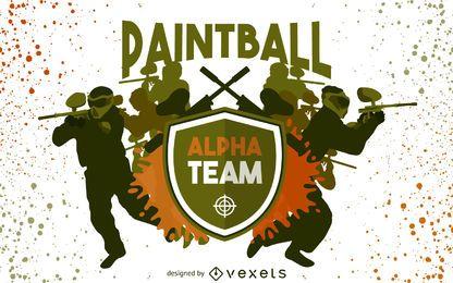 Silhuetas de equipe de paintball