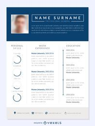 Blue columns resume template