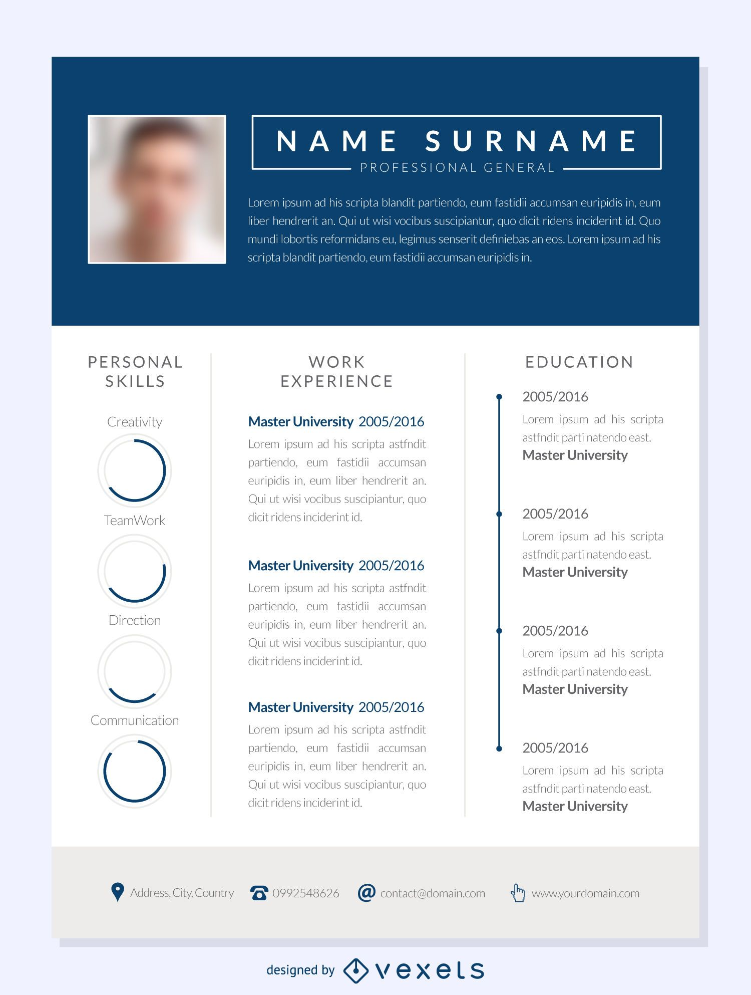 blue columns resume mockup template