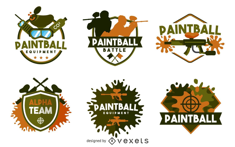 Paintball label badge set