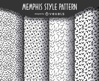 Geometric memphis style pattern set