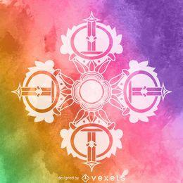 Aquarell Dorje Kreuz Symbol