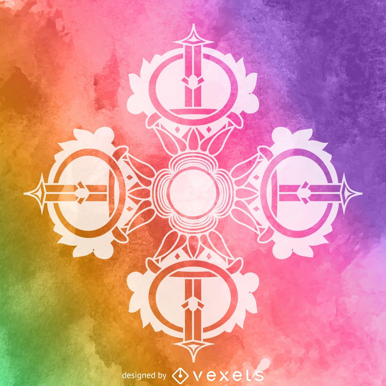 Watercolor dorje cross symbol