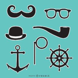 Hipster patch set