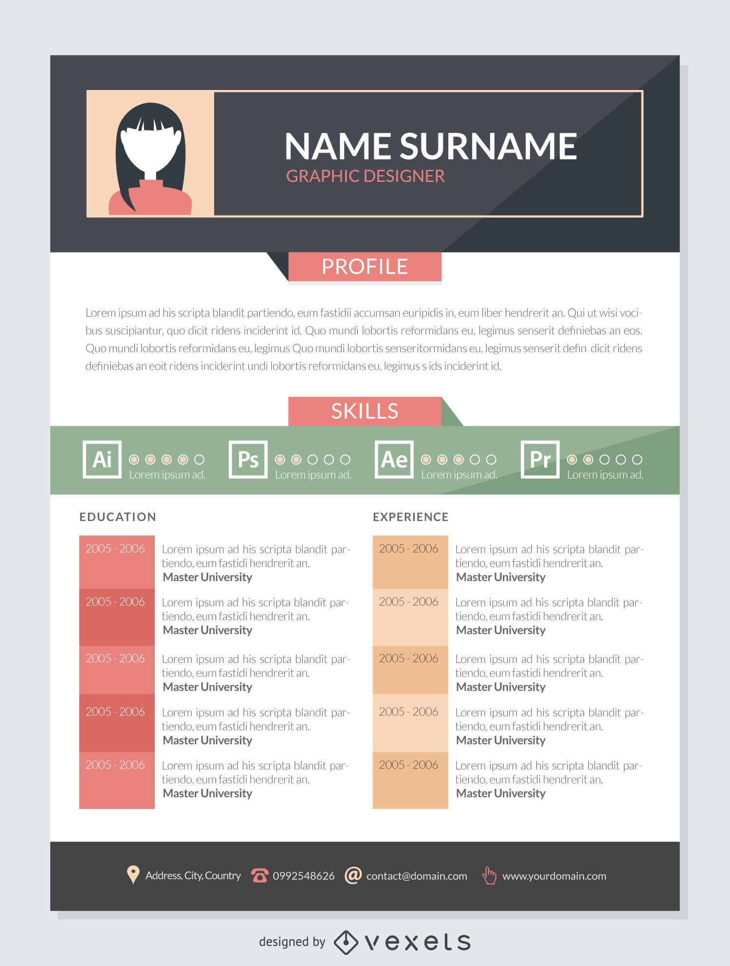 Graphic Designer Resume Mockup Template  Resume Graphic Designer