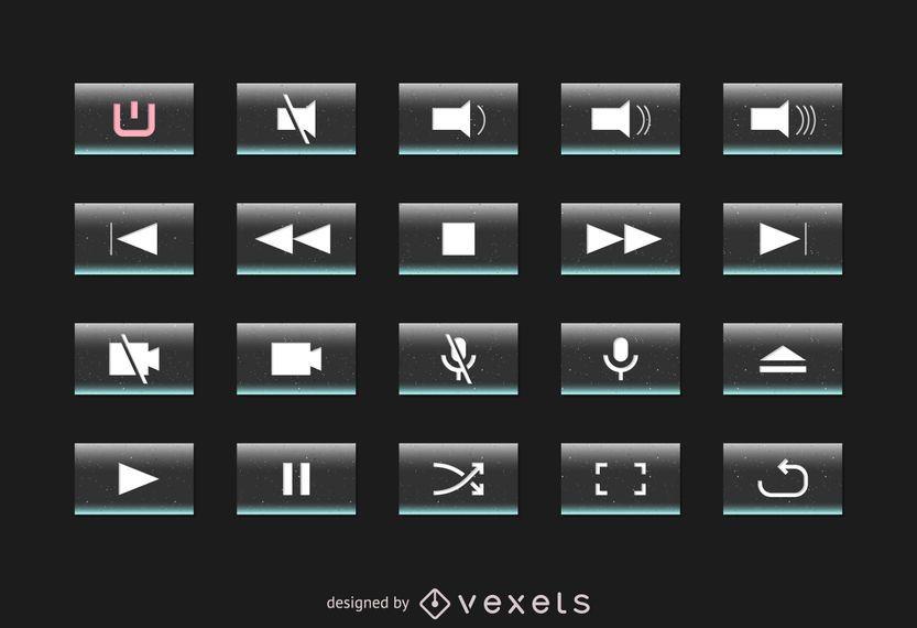 Conjunto de botones de interfaz multimedia
