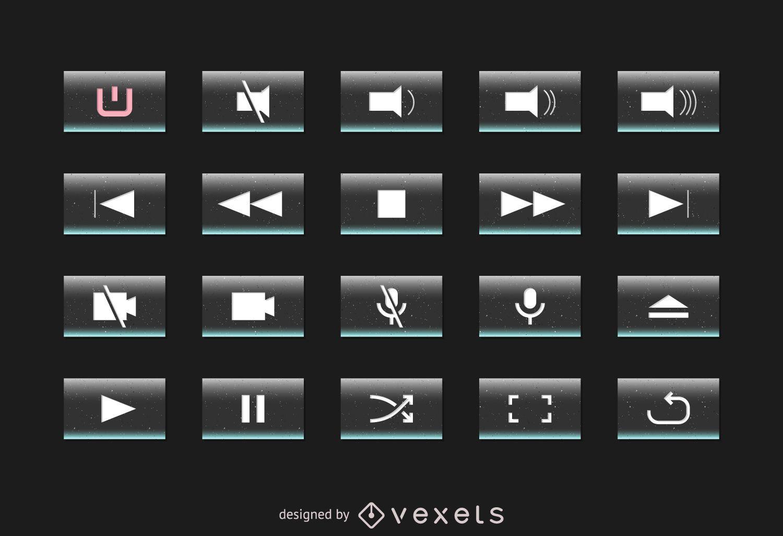 Multimedia interface button set