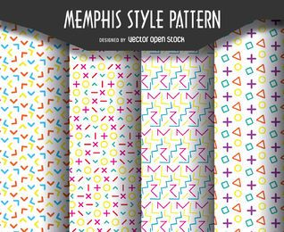 Retro memphis pattern set