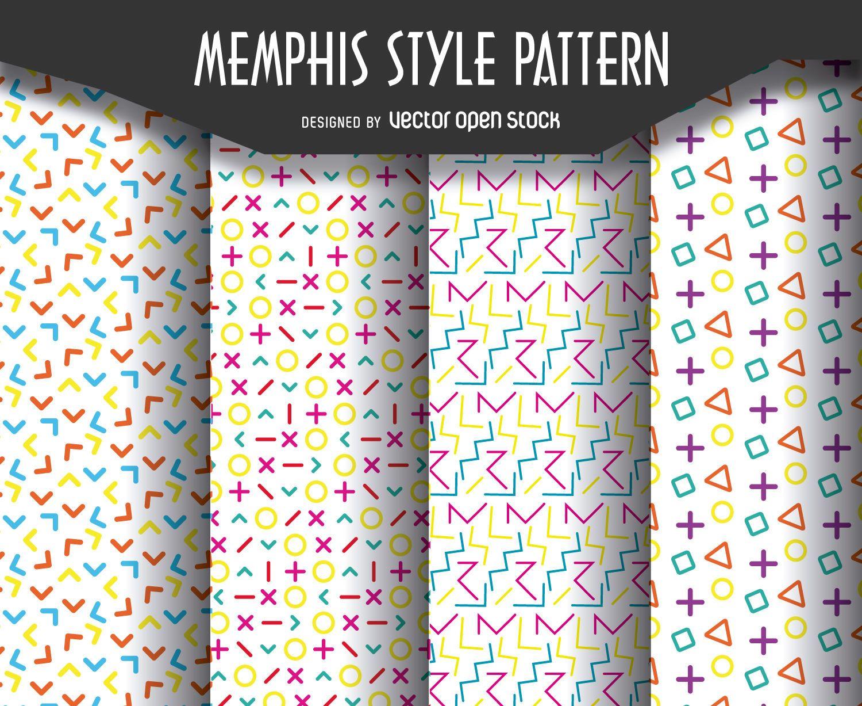 Retro memphis pattern set