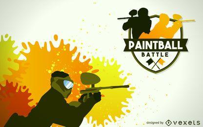 Distintivo de ilustração de jogador de paintball