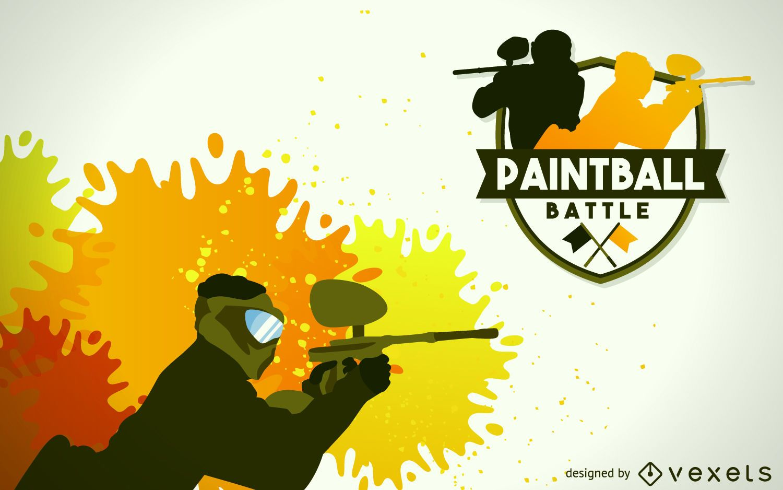 Paintball player illustration badge