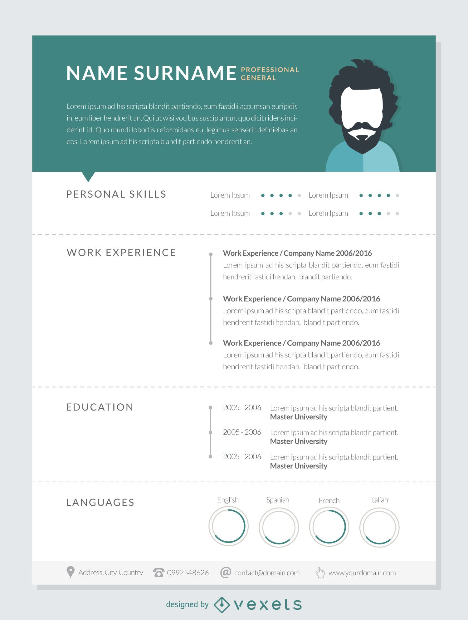 professional resume mockup template vector download