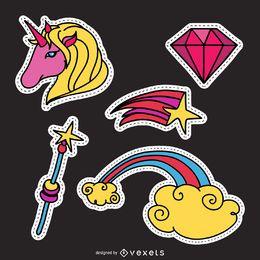 Conjunto de parches de magia unicornio