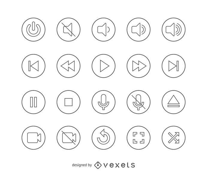 Botones de icono de interfaz de línea plana