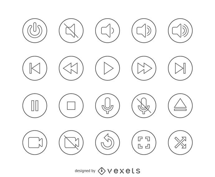 Flat line interface icon buttons