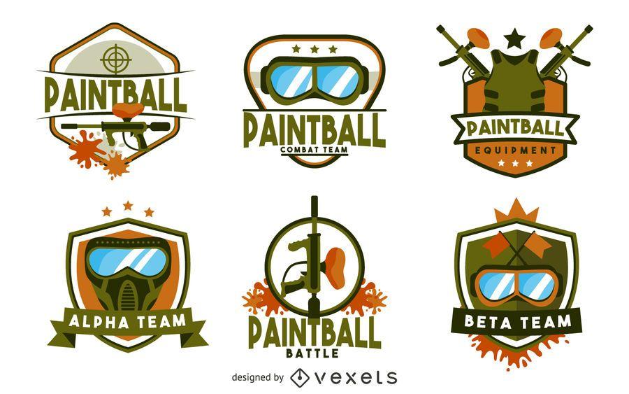 Plantilla de logo de la insignia de paintball