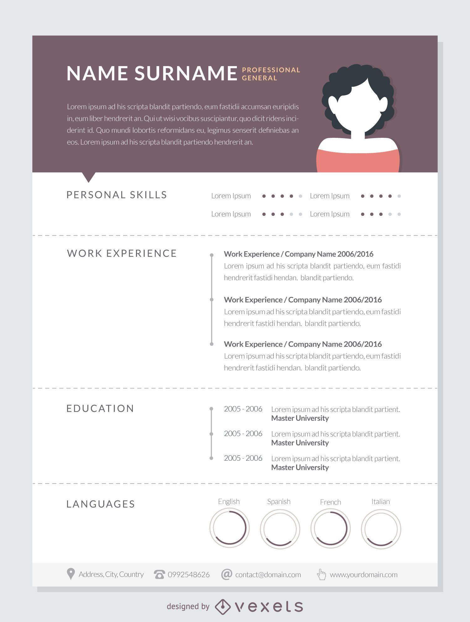 Professional curriculum template