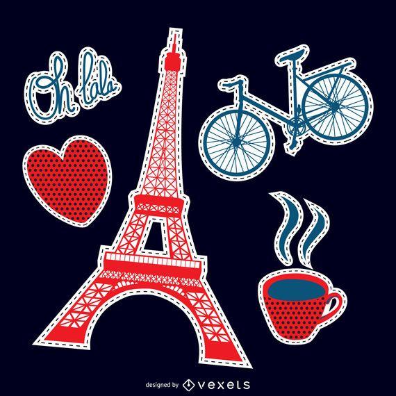 Conjunto de patch romântico de Paris