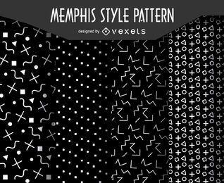 Monochrome Memphis set patter