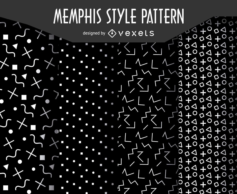 Monochrome memphis pattern set