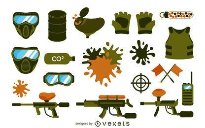 Conjunto de elementos de equipo de paintball
