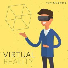 Flache Abbildung der virtuellen Realität
