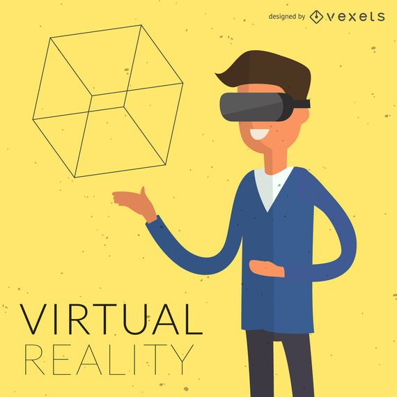 Flat virtual reality illustration