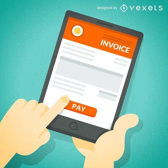 Pago de facturas en línea en la pantalla de la tableta