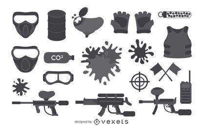 Coleção de elementos de equipamento de paintball