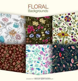 Conjunto de 6 fundos florais