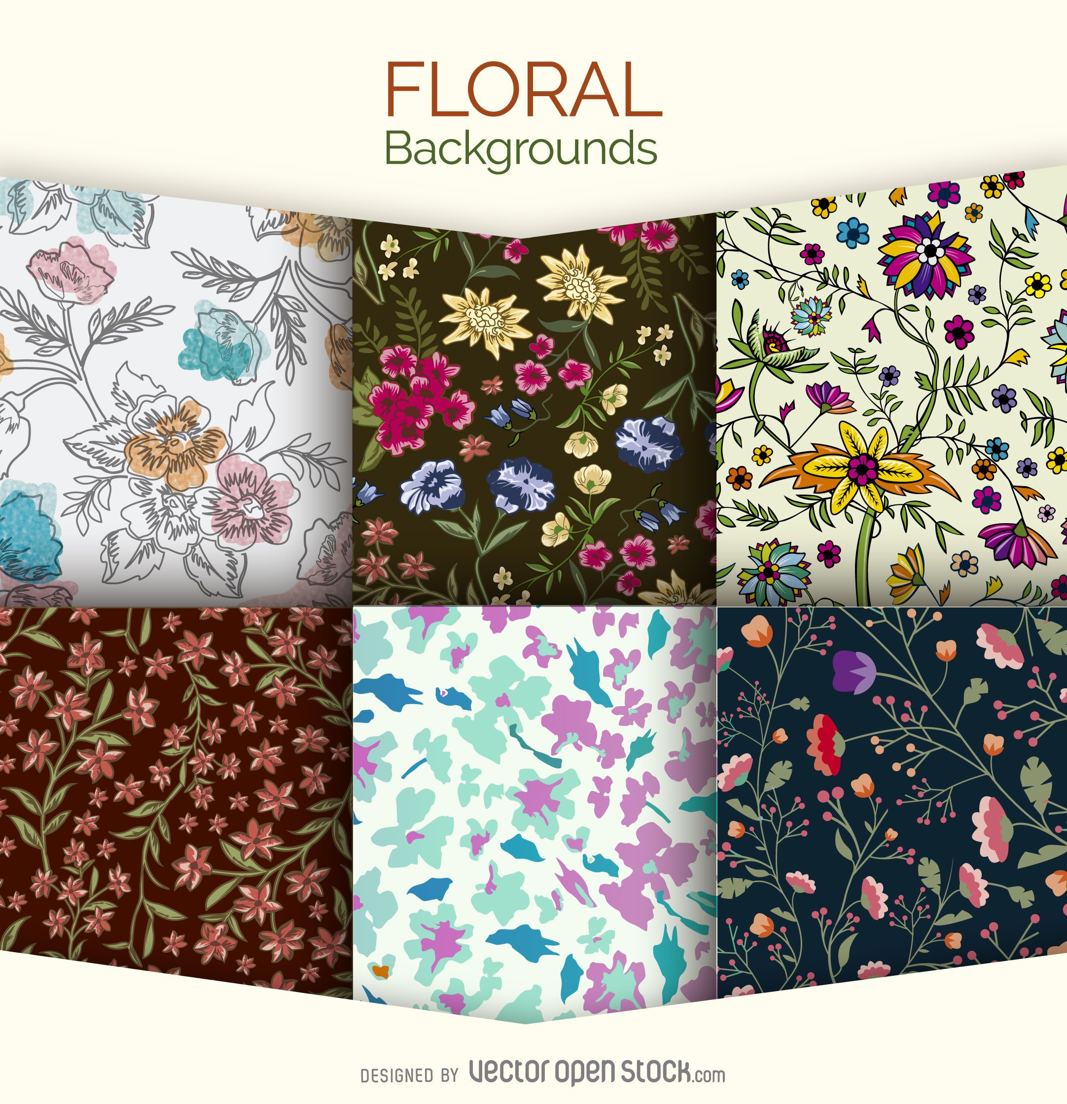 6 Floral Backgrounds Set Vector Download