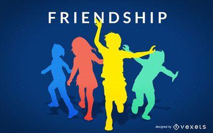 Ilustração de silhuetas de amizade
