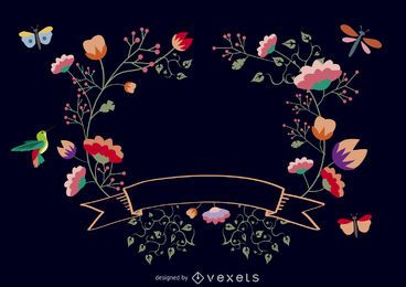 Floral frame with ribbon