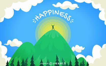 Ilustración del concepto de felicidad