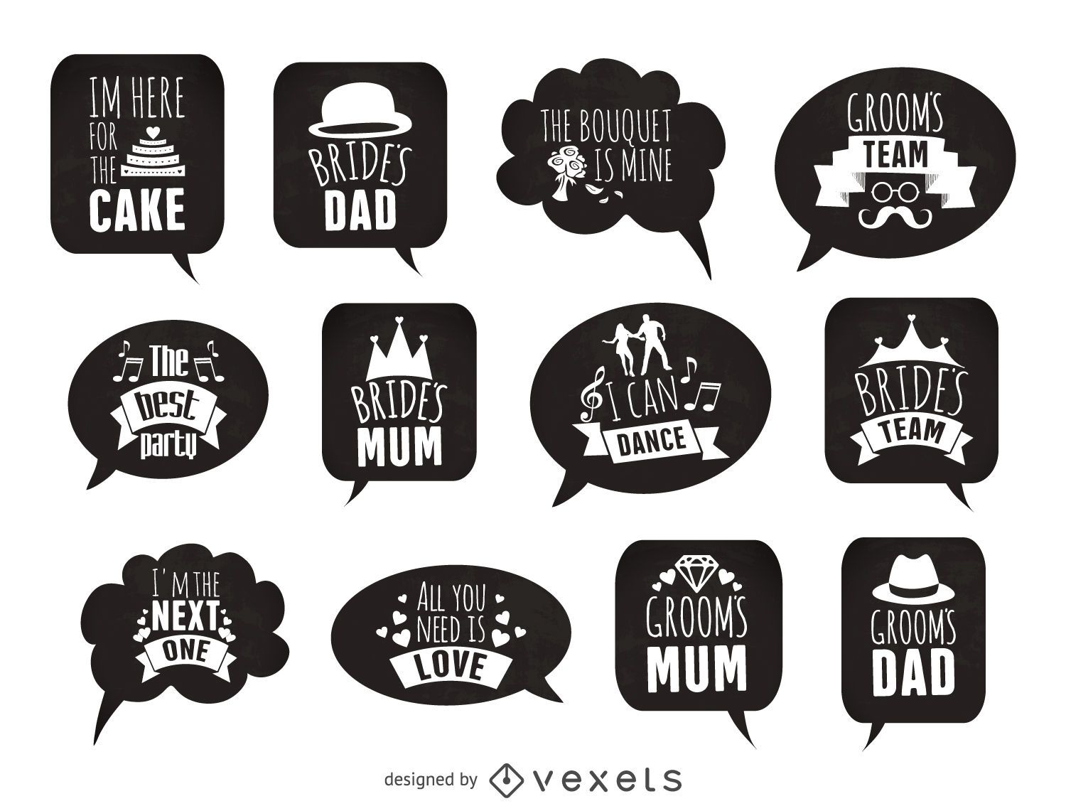Wedding Stickers Props Set Vector