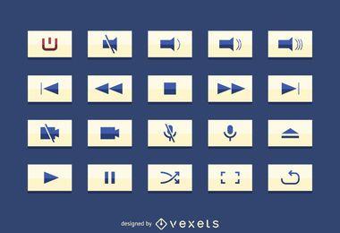 Conjunto de botão de interface de usuário multimídia