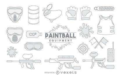 Conjunto de elemento de traçado de equipamento de paintball