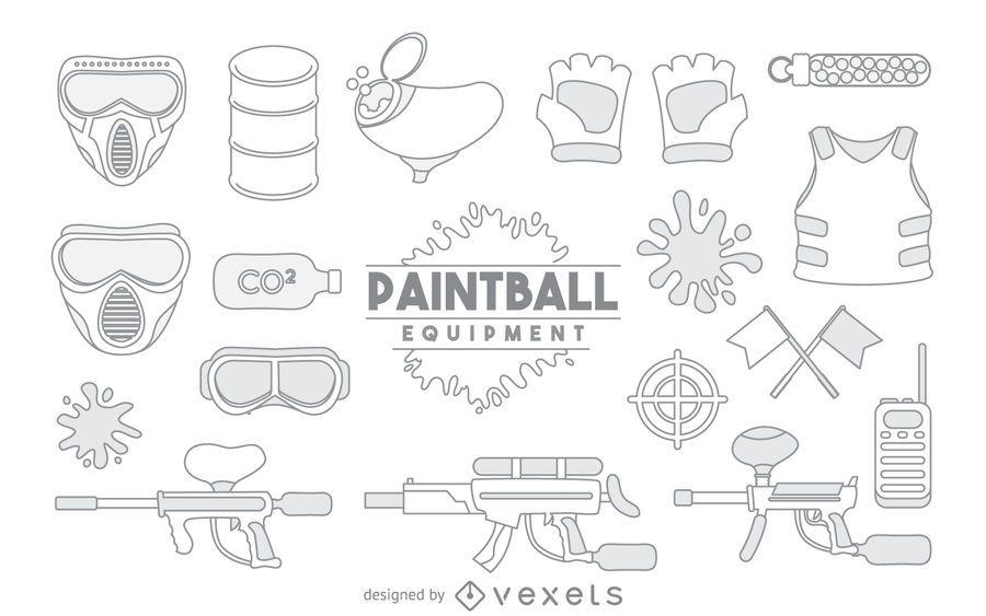 Equipo de paintball juego de elementos de carrera