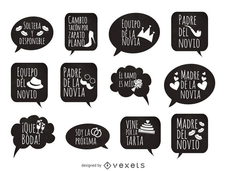Frases De Boda Prop En Español Descargar Vector