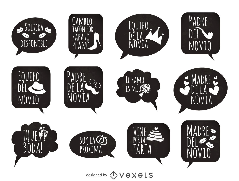 Wedding phrases prop in spanish - Vector download