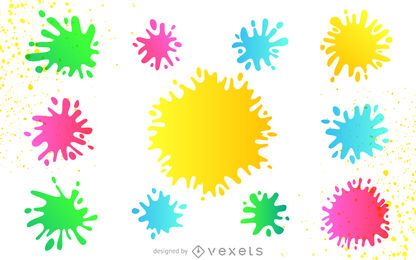 Colorful paint splatter set