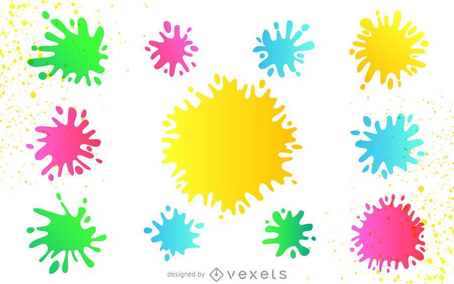 Conjunto de salpicaduras de pintura de colores descargar vector - Salpicaduras de pintura ...