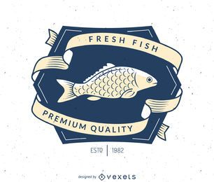 Vintage fishing label logo template
