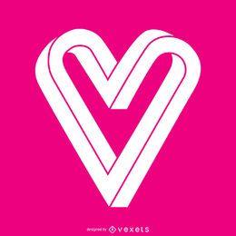Modelo de logotipo de coração infinito plana