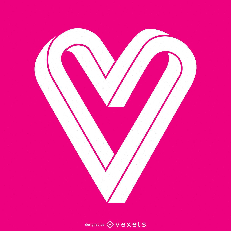 Plantilla de logotipo de corazón plano infinito