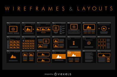 Conjunto de wireframe e layout