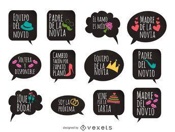 Colección de accesorios de pegatinas de boda española