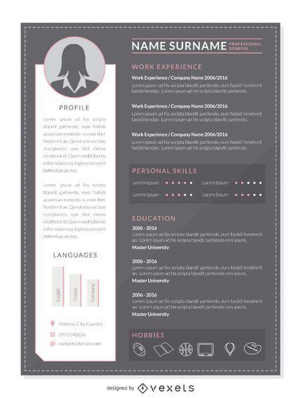 Plantilla de maqueta de CV profesional